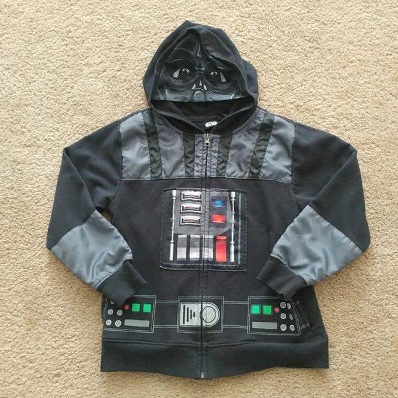 USED Star Wars Darth Vader Fleece Lined Full Zip Hoodie Sweathshirt-XL
